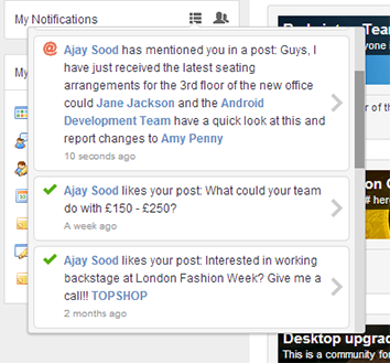 Intranet pop up notifications as required